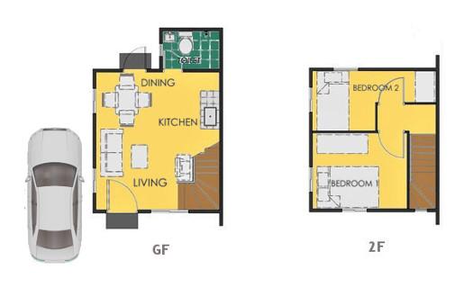 Reva Floor Plan House and Lot in Trece Martires